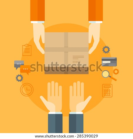 Flat design colorful vector illustration concept for delivery service, e-commerce, online shopping, receiving package from courier to customer isolated on bright background  - stock vector