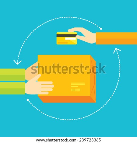 Flat design colorful vector illustration concept for e-commerce, online shopping, payment  with card, delivery service isolated on bright background  - stock vector