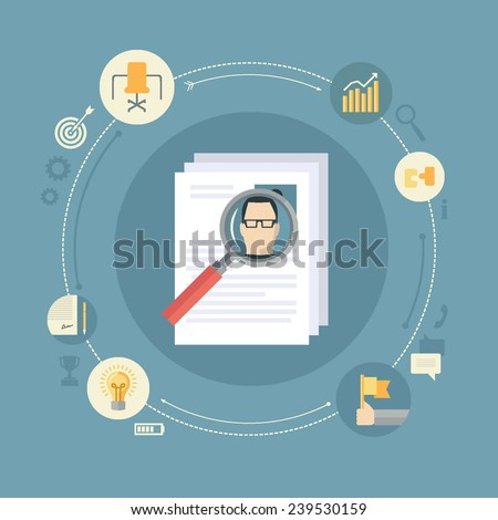 Flat design colorful vector illustration concept for human resource management, searching efficient staff, selecting best employees, analyzing personnel resume isolated on stylish background  - stock vector
