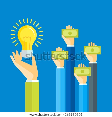 Flat design colorful vector illustration concept for investing into ideas, crowdfunding, funding project by raising monetary contributions, venture capital isolated on bright background - stock vector