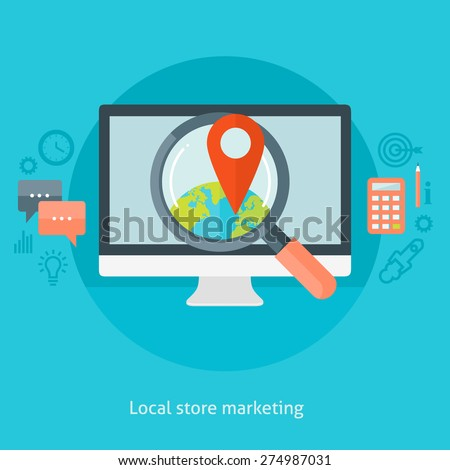 Flat design colorful vector illustration concept for local store marketing isolated on bright background  - stock vector