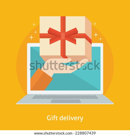 Flat design colorful vector illustration concept for online gifts ordering and delivery service isolated on bright background - stock vector