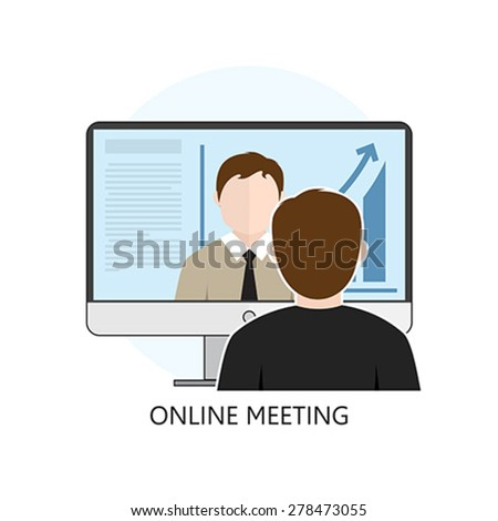 Flat design colorful vector illustration concept for online meeting, online learning, professional lectures in internet. Isolated on white background - stock vector