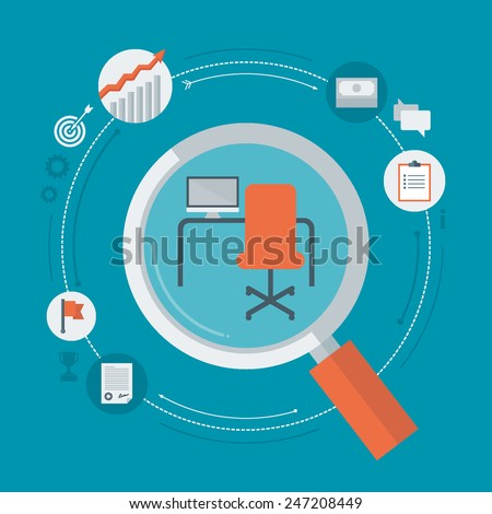 Flat design colorful vector illustration concept for searching job, looking for a vacancy, professional development, successful career isolated on bright background  - stock vector