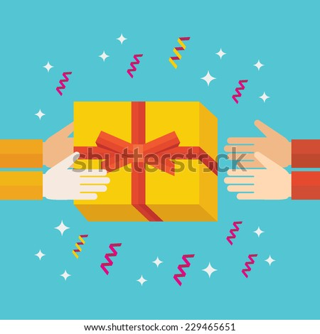Flat design colorful vector illustration of hands giving gift box to hands of receiver isolated on bright background  - stock vector