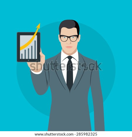 Flat design colorful vector illustration of young businessman showing graphics on tablet, concept for effective management, successful campaign isolated on light background