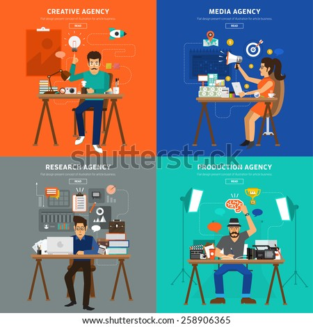 Flat design concept advertising agency type. Creative , Media, Research, and Production house agency.Vector Illustrate for banner and article design - stock vector