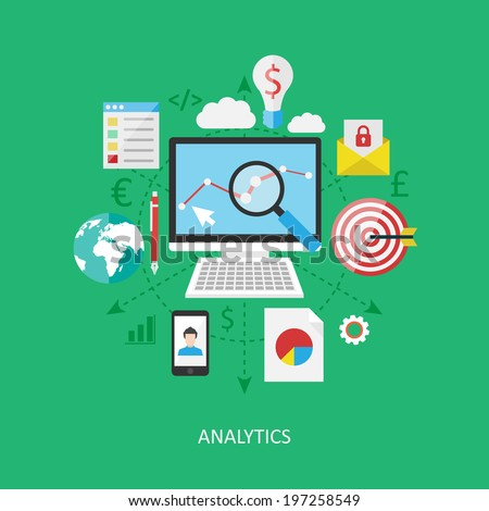 Flat design concept: Analytics. - stock vector