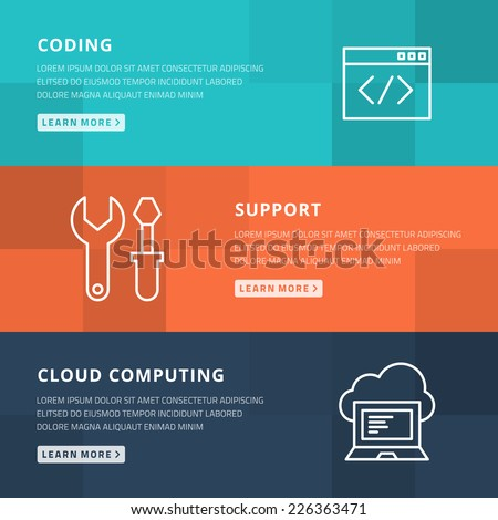 Flat design concept for coding, technical support and cloud computing vector illustration - stock vector