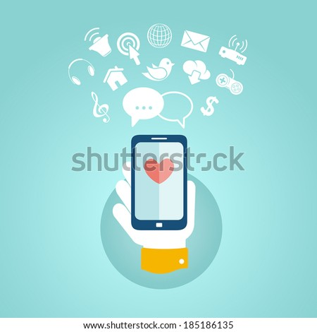 Flat design concept for mobile apps - stock vector