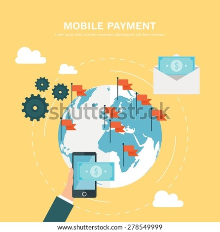Flat design concept for mobile payment - stock vector