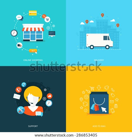 Flat design concept for online shopping, delivery, support and add to bag. Modern style vector illustration . - stock vector
