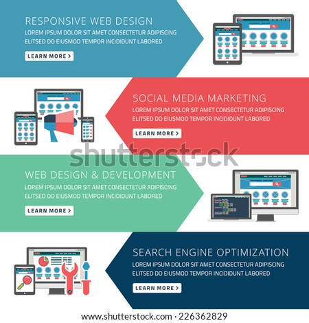 Flat design concept for responsive web design and seo vector illustration - stock vector
