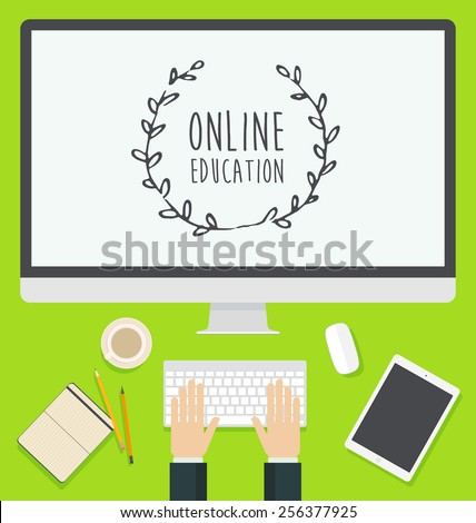 Flat design concept for web banners and promotional materials. Concept for online education, courses and tutorials, online learning, learn to think, trendy colors. With place for your text. - stock vector