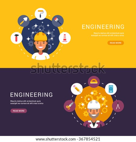 Flat Design Concept for Web Banners. Building Icons and Objects in the Shape of Circle. Male and Female Builder or Engineer Cartoon Characters. Vector Illustration in Flat Design Style - stock vector