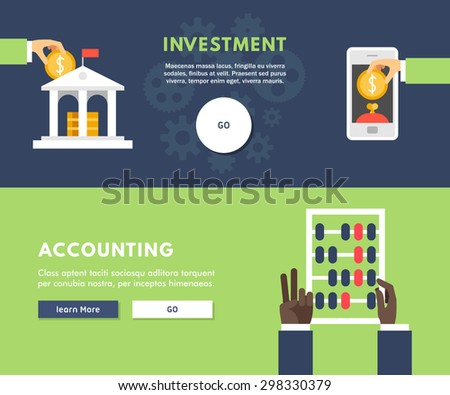 Flat Design Concept for Web Banners. Investment. Accounting - stock vector