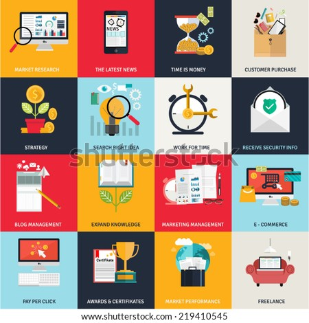 Flat design concept icons for networking, online education, business, e commerce, payments. Symbols for websites,prints,presentations,promotional and infographics elements, digital services and apps. - stock vector