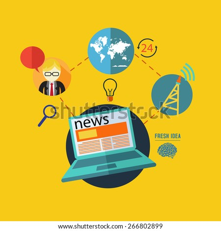 flat design concept icons for news . Icons for fax, newsletter, support, contact. - stock vector
