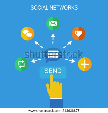 Flat design concept icons for social media and network connection. Design elements for web and mobile applications. - stock vector