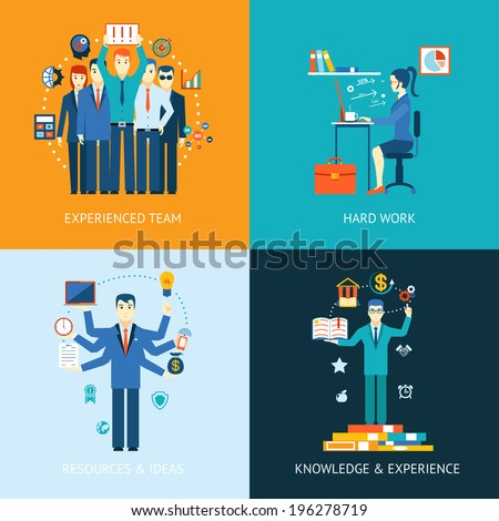 Flat design concept icons for teamwork and human resources, knowledge and experience - stock vector