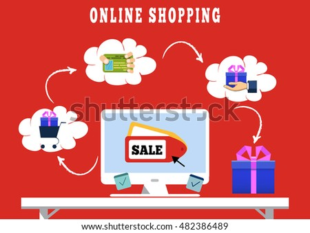 Flat design concept, icons for web and mobile phone services and apps. Vector concept of mobile marketing and online shopping