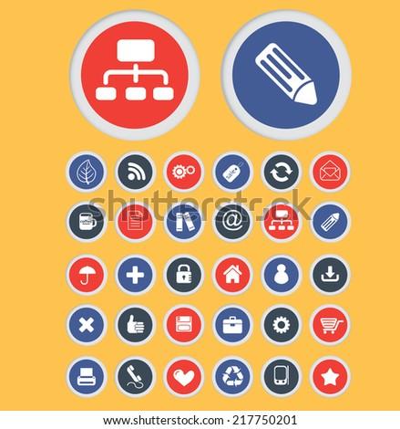 flat design concept icons, signs, illustrations, vectors, symbols set - stock vector