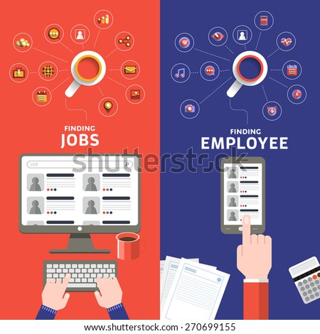 Flat design concept jobs search online by separate vision of applying and employee.