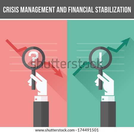Flat design concept of analyzing business financial and economic crisis and growth - stock vector