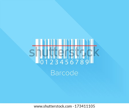 Flat design concept of barcode with long shadow. - stock vector
