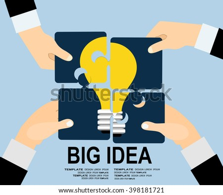 Flat design concept of Big Idea. Flat design for Website Element, Web Template, Creative team sitting at table and putting together puzzle pieces with light bulb picture,  - stock vector