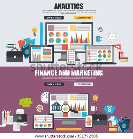Flat design concept of business big data analysis, global analytics, financial research report, marketing statistics. Concepts for web banner and printed materials. - stock vector