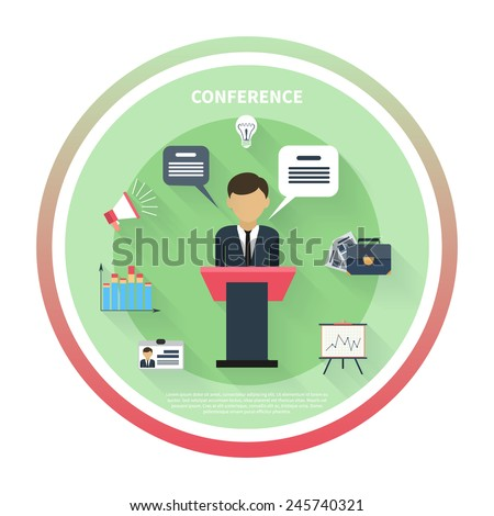Flat design concept of businessman presenting development and financial plan on meeting conference - stock vector