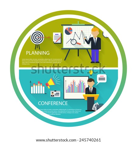 Flat design concept of businessman presenting development and financial planning on meeting conference - stock vector