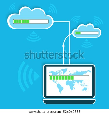 Flat design concept of cloud service and laptop. A simplified scheme of the functioning of the cloud services.