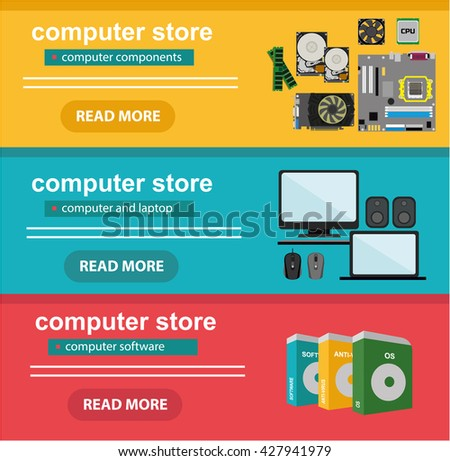 Flat design concept of computer store, sale of computers, laptops, components: motherboard, RAM, cooler, hard disk, cpu, video card, software. Electronics store, retail computer, computer shop - stock vector