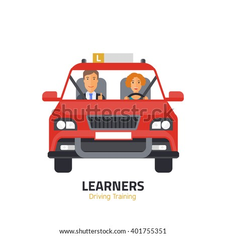 Flat design concept of driving school with car, woman, instructor. - stock vector