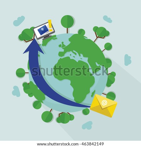 flat design concept of international connection via e-mail. online communication concept, email message travelling via internet around the world