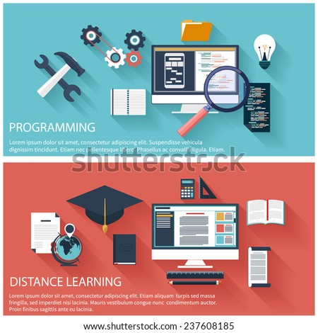 Flat design concept of program coding laptop. Concept for online education, distance learning, creative thinking, innovations with computer - stock vector