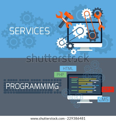 Flat design concept of programming and services with computer monitors and keyboard - stock vector