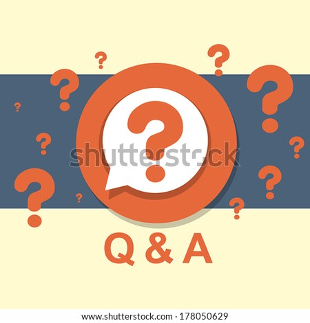 flat design concept of Q&A question and answer - stock vector