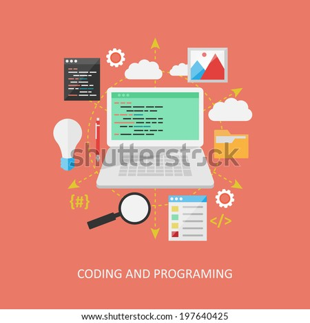 Flat design concept: Programing. - stock vector
