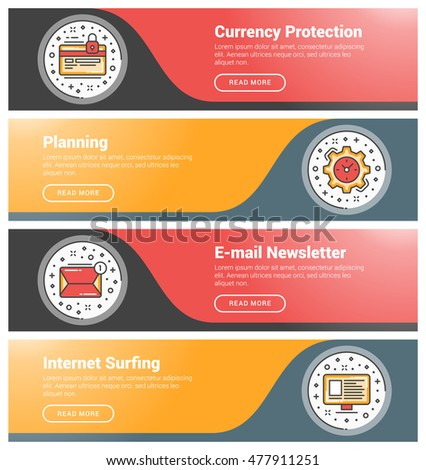 set flat line business website banner stock vector 482964193