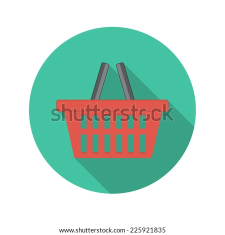 Flat Design Concept Shopping Glossy Vector Illustration With Long Shadow. EPS10 - stock vector