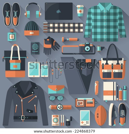 Flat design concept vector illustration of every day carry and outfit accessories, things, tools, devices, essentials, equipment, objects, items. Icons collection in stylish colors. Clothes - stock vector