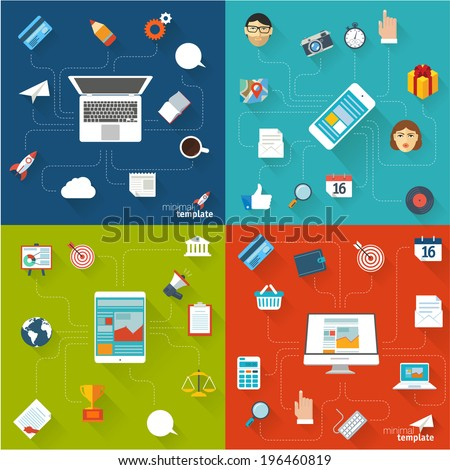 Flat design concept. Vector template and  icons for infographics, web, inerface and mobile. - stock vector