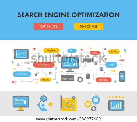 Flat design concept web banner for search engine optimization. Modern flat horizontal banner for seo. Vector creative style concept for search engine optimization.