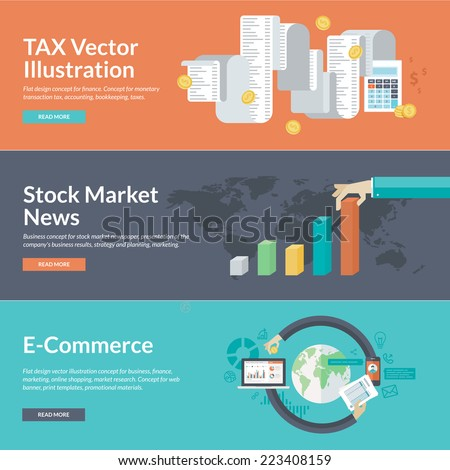 Flat design concepts for business and finance. Concepts for finance, taxes, bookkeeping, accounting, stock market news, strategy and planning, marketing, e-commerce, market research, business.    - stock vector