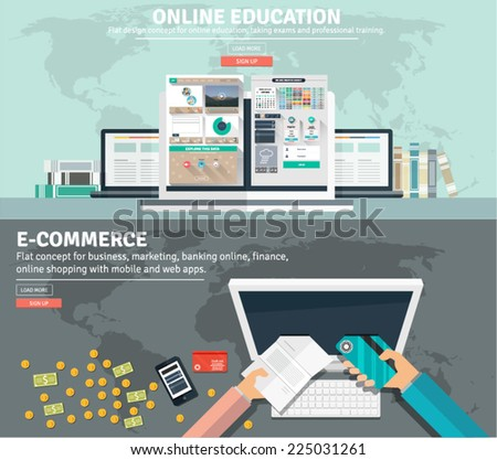 Flat design concepts for business education training and exams, e commerce, online money transfer, global market. Concepts and icons for web banners, apps and promotional materials. - stock vector