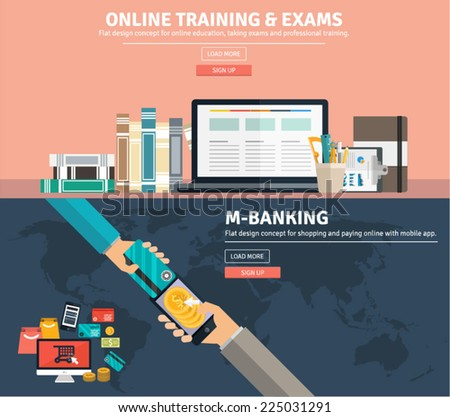 Flat design concepts for business education training and exams, e commerce, online money transfer, global market, mobile banking. Concepts and icons for web banners, apps and promotional materials. - stock vector