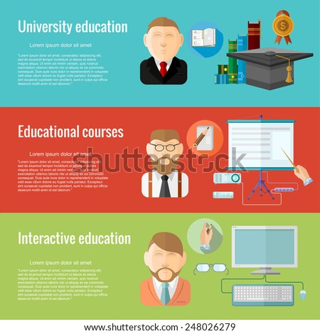 Flat design concepts for different education university education, educational courses, interactive educational. Concepts for web banners and promotional materials. - stock vector